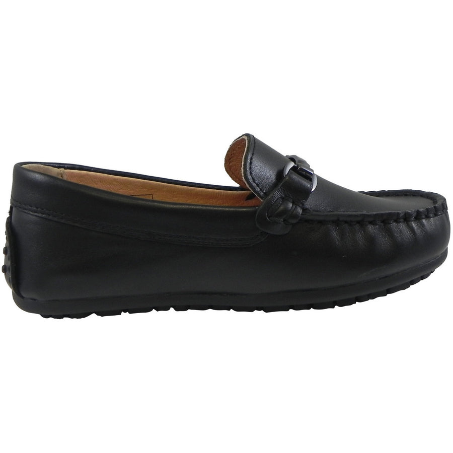 Umi Boy's Ira Leather Classic Slip On Oxford Hardware Detail Loafer Shoes Black - Just Shoes for Kids  - 4