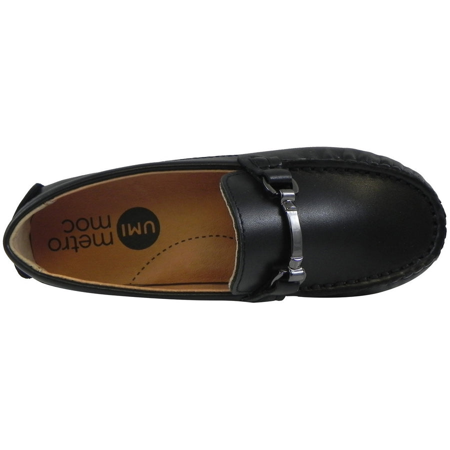 Umi Boy's Ira Leather Classic Slip On Oxford Hardware Detail Loafer Shoes Black - Just Shoes for Kids  - 6