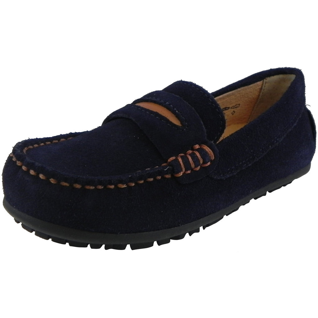 Umi Boy's David Leather Slip On Oxford Loafer Shoes Navy - Just Shoes for Kids  - 1
