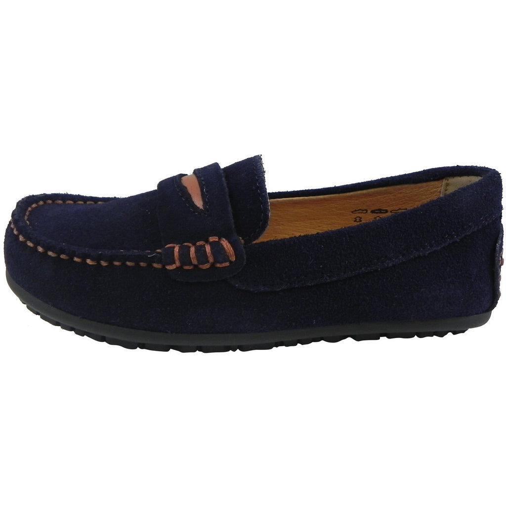 Umi Boy's David Leather Slip On Oxford Loafer Shoes Navy - Just Shoes for Kids  - 2