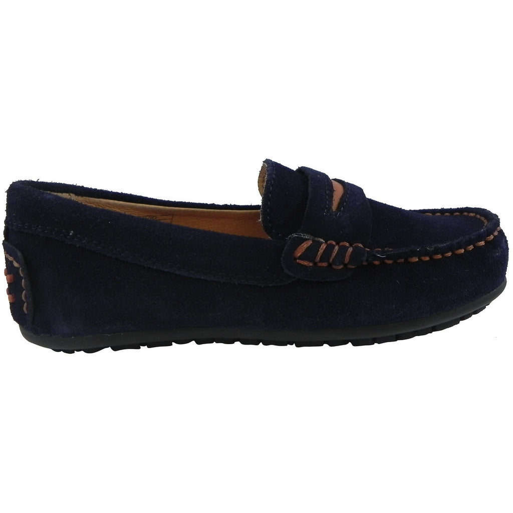 Umi Boy's David Leather Slip On Oxford Loafer Shoes Navy - Just Shoes for Kids  - 4