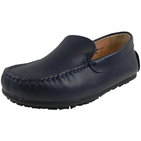 Umi Boy's Saul Leather Classic Slip On Oxford Loafer Shoes Navy - Just Shoes for Kids  - 1
