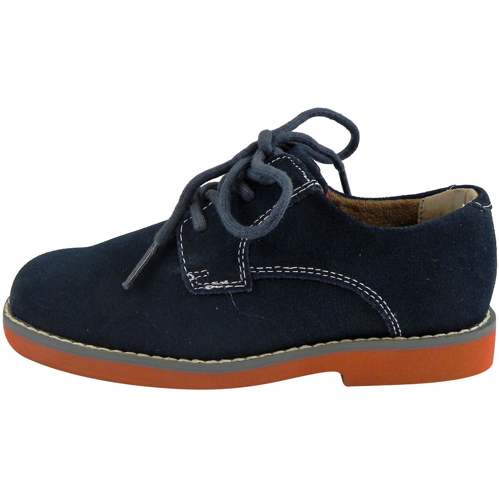 Florsheim Boy's Kearny Suede Classic Lace Up Oxford Shoes Navy - Just Shoes for Kids  - 2