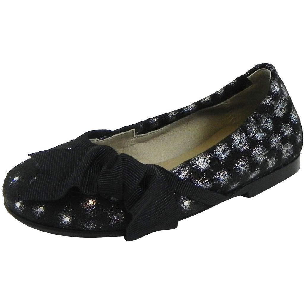 Papanatas by Eli Black Sparkle Suede with Bow Slip On Ballet Flats
