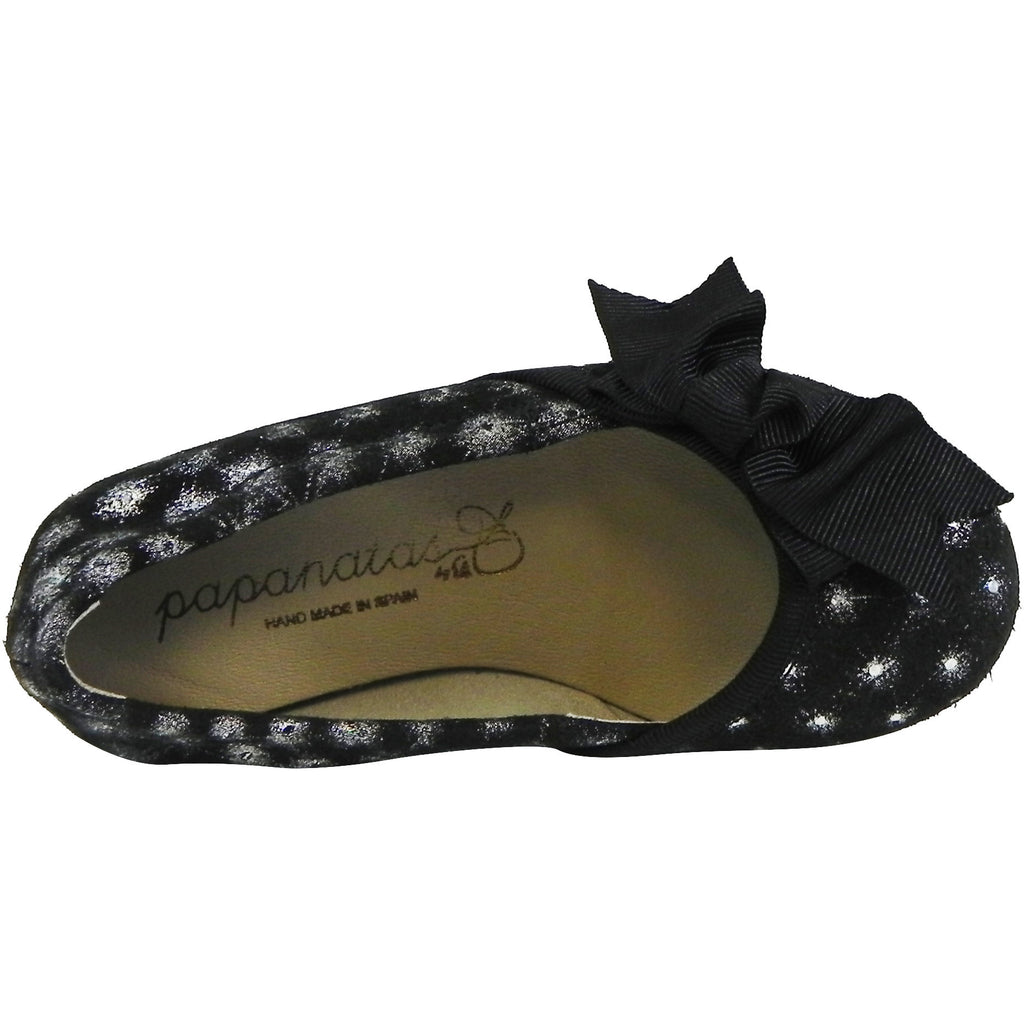 Papanatas by Eli Velvet Sparkle Bow Slip On Ballet Flats Black