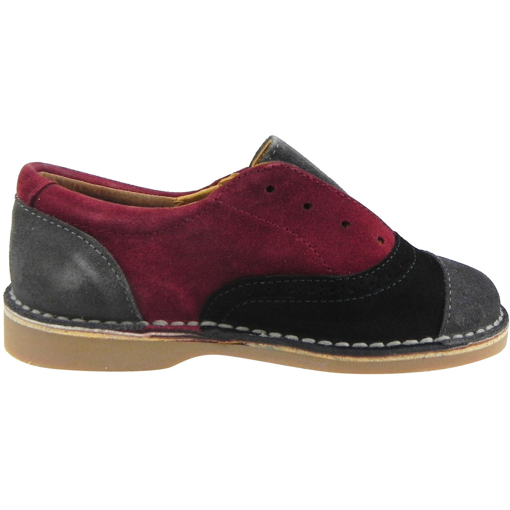 Papanatas by Eli Girl's and Boy's Suede Multicolor Oxford Slip On Shoes Black/Burgundy