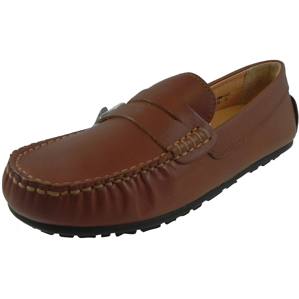 Umi Boy's David Leather Slip On Oxford Loafer Shoes Cognac - Just Shoes for Kids  - 1