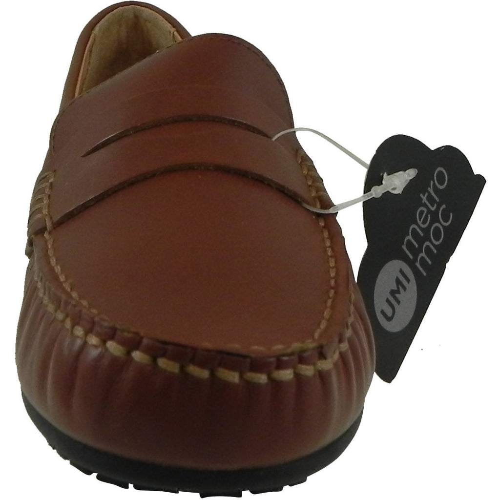 Umi Boy's David Leather Slip On Oxford Loafer Shoes Cognac - Just Shoes for Kids  - 5