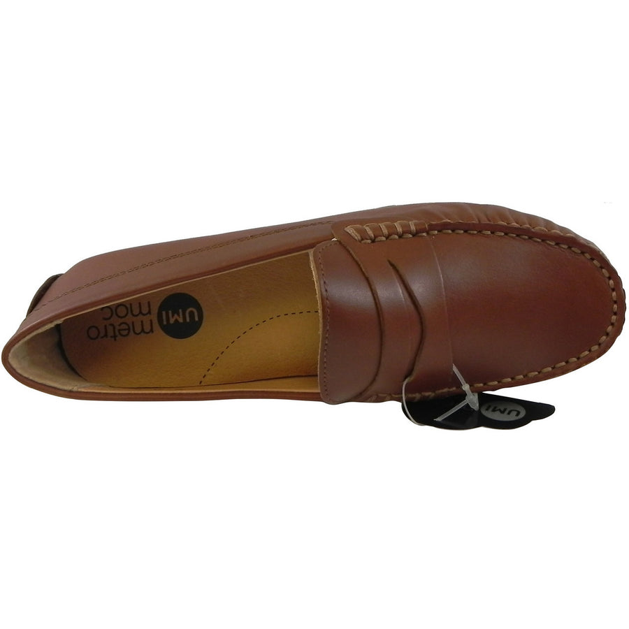 Umi Boy's David Leather Slip On Oxford Loafer Shoes Cognac - Just Shoes for Kids  - 6