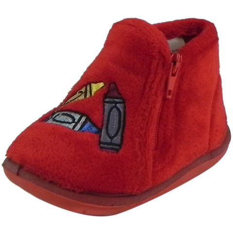 Foamtreads Kid's Sparky Red Zipper Slipper Boot 4 M US Toddler - Just Shoes for Kids  - 1