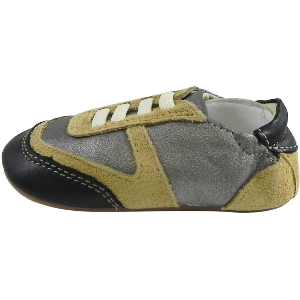 Old Soles Boy's Street Jogger Silver Tan Black Soft Leather Slip On Crib Walker Sneaker Shoe