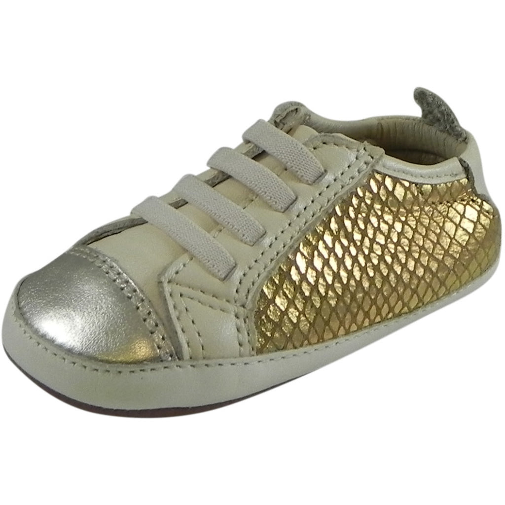 Old Soles Girl's Bambini Jogger Gold Snake Soft Leather Slip On Crib Walker Sneaker Shoe - Just Shoes for Kids  - 1