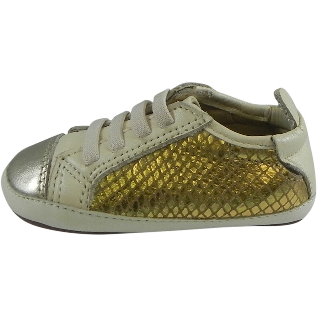 Old Soles Girl's Bambini Jogger Gold Snake Soft Leather Slip On Crib Walker Sneaker Shoe - Just Shoes for Kids  - 2