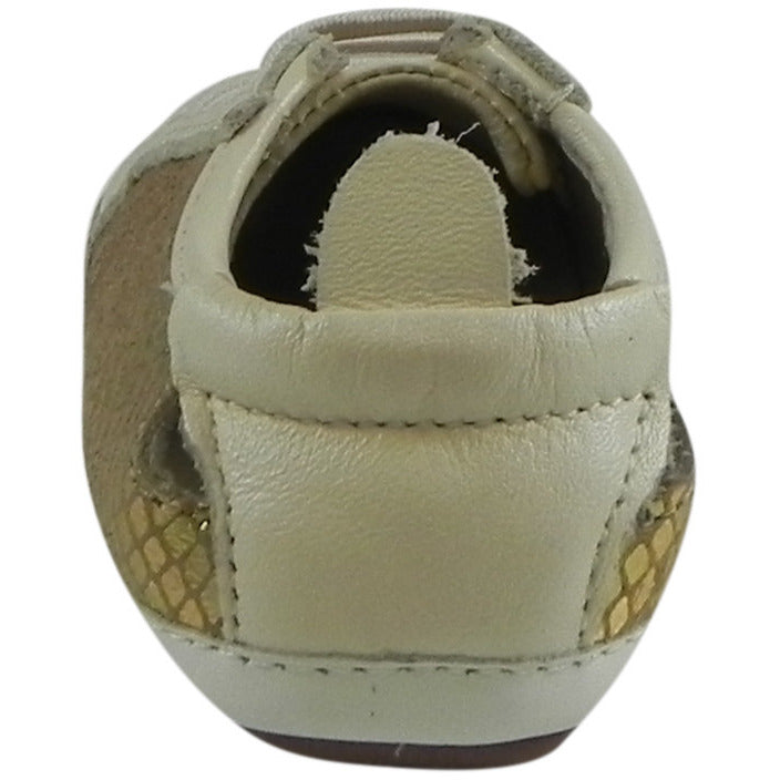 Old Soles Girl's Bambini Jogger Gold Snake Soft Leather Slip On Crib Walker Sneaker Shoe - Just Shoes for Kids  - 3