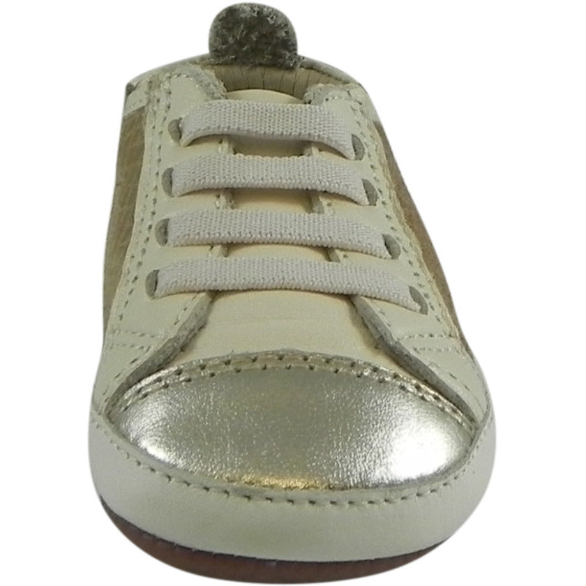 Old Soles Girl's Bambini Jogger Gold Snake Soft Leather Slip On Crib Walker Sneaker Shoe - Just Shoes for Kids  - 4
