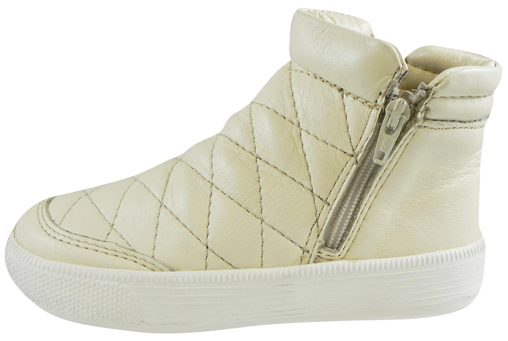 Old Soles Girl's Zip Daley Pearl Metallic Quilted Leather Zipper High Top Sneaker Shoe