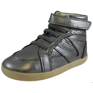 Old Soles Girl's Cheer Leader High Top Rich Silver Hook and Loop Leather Sneakers - Just Shoes for Kids  - 1