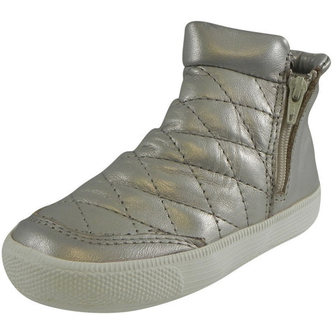 Old Soles Girl's Zip Daley Silver Chalk Quilted Leather Zipper High Top Sneaker Shoe - Just Shoes for Kids  - 1
