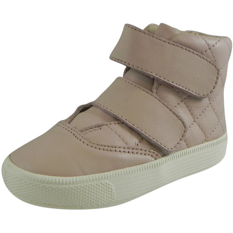 49058f5cae45 Old Soles Girl s Quilted Space Pink Leather Double Hook and Loop High Top  Sneaker - Just