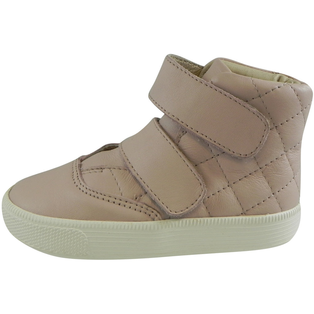 Old Soles Girl's Quilted Space Pink Leather Double Hook and Loop High Top Sneaker - Just Shoes for Kids  - 2