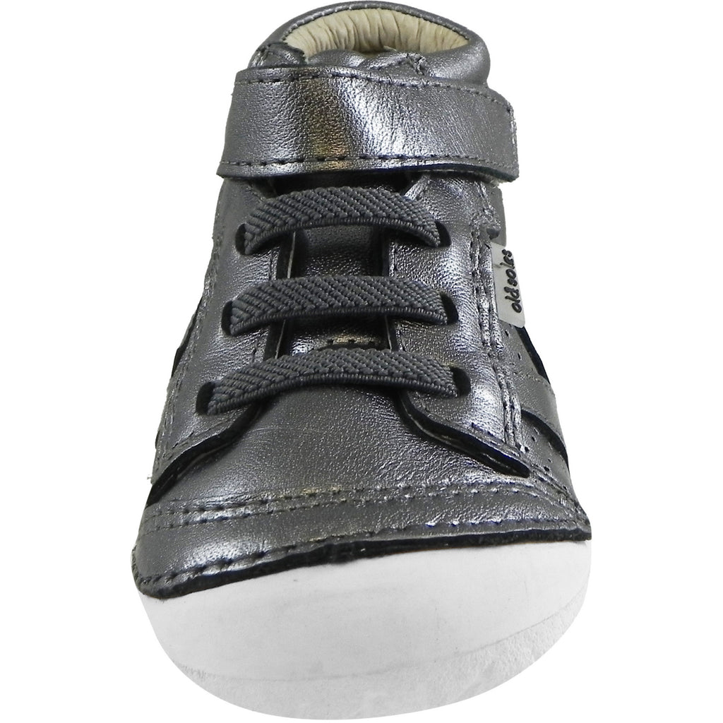 Old Soles Girl's Pave Leader Rich Silver Leather Elastic Laces Velcro Slip on Sneaker