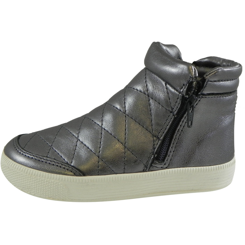 Old Soles Girl's Zip Daley Rich Silver Quilted Leather Zipper High Top Sneaker Shoe - Just Shoes for Kids  - 2