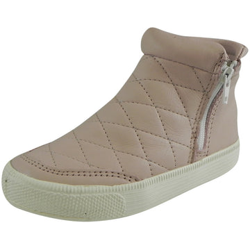 Old Soles Girl's Zip Daley Powder Pink Quilted Leather Zipper High Top Sneaker Shoe - Just Shoes for Kids  - 1