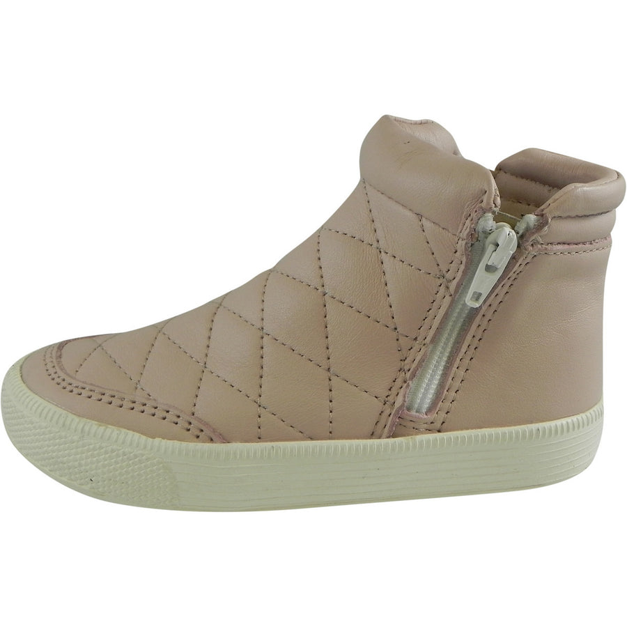 Old Soles Girl's Zip Daley Powder Pink Quilted Leather Zipper High Top Sneaker Shoe - Just Shoes for Kids  - 2