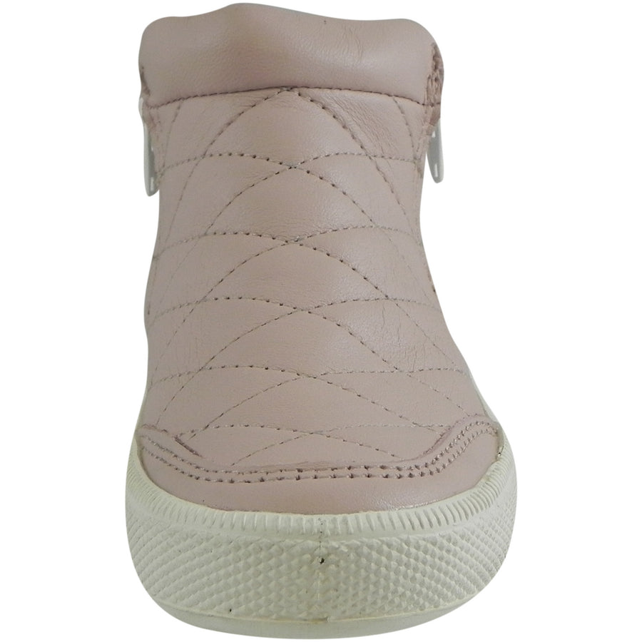 Old Soles Girl's Zip Daley Powder Pink Quilted Leather Zipper High Top Sneaker Shoe - Just Shoes for Kids  - 3