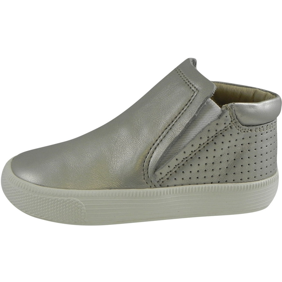 Old Soles Girl's Urban Crew Silver Chalk Slip On High Top Ankle Leather Sneakers 27 M EU/10 M US Toddler - Just Shoes for Kids  - 2