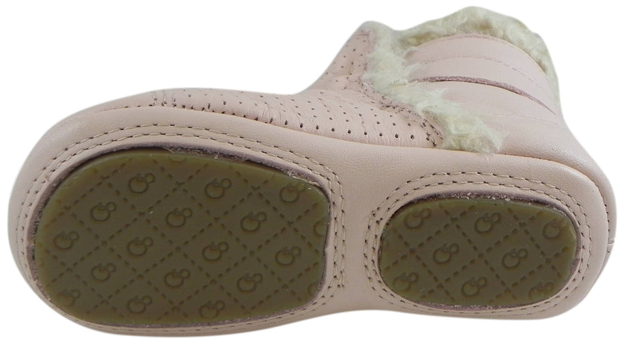 Old Soles Girl's Gatsby Powder Pink Soft Leather Slip On Fur Crib Walker Baby Shoes Bootie