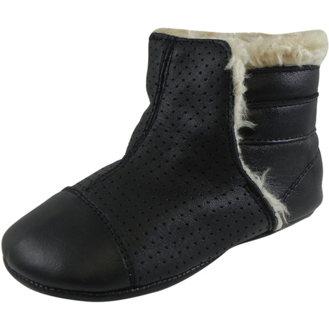 19a50fb1d35a Old Soles Girl s   Boy s Gatsby Black Soft Leather Slip On Fur Crib Walker  Baby Shoes