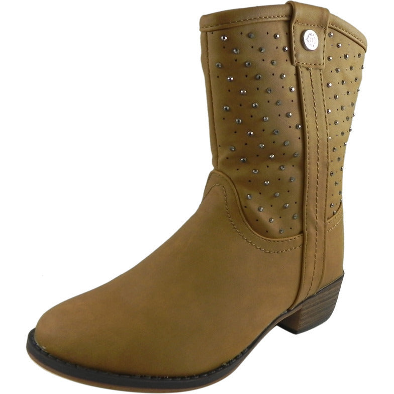 Josmo Nanette Lepore Girl's Tan Studded Western Boot - Just Shoes for Kids  - 1