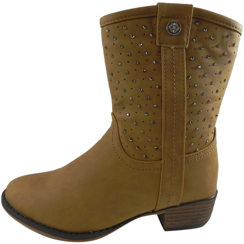 Josmo Nanette Lepore Girl's Tan Studded Western Boot - Just Shoes for Kids  - 2