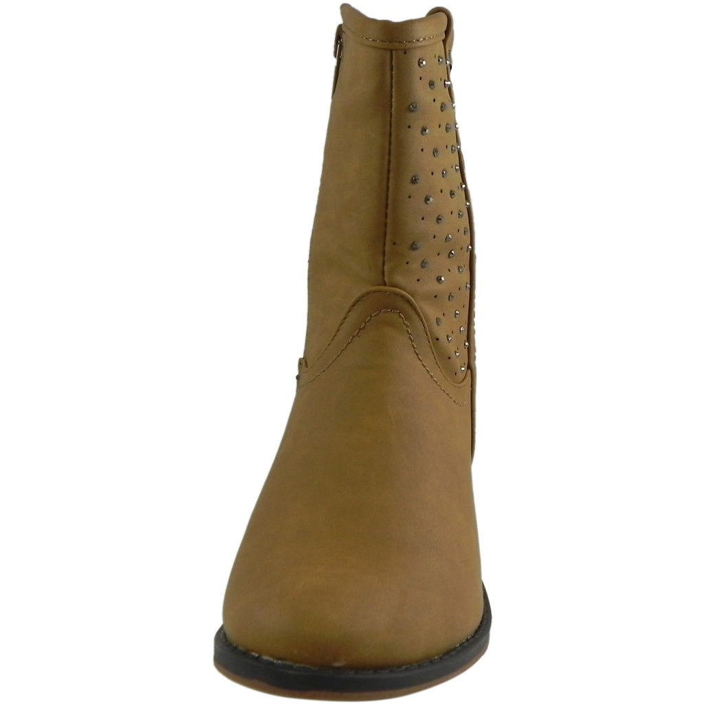 Josmo Nanette Lepore Girl's Tan Studded Western Boot - Just Shoes for Kids  - 3