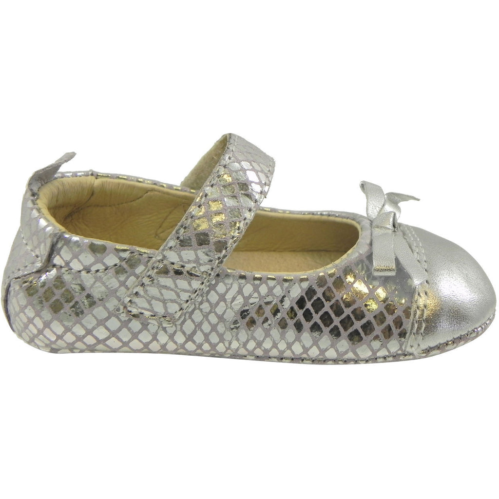Old Soles Girl's Sassy Style 097 Silver/Lavender Snake Leather Mary Jane - Just Shoes for Kids  - 5