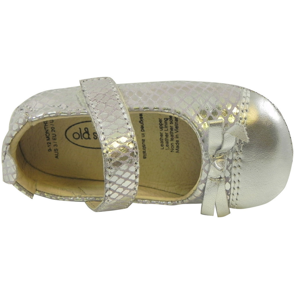 Old Soles Girl's Sassy Style 097 Silver/Lavender Snake Leather Mary Jane - Just Shoes for Kids  - 7