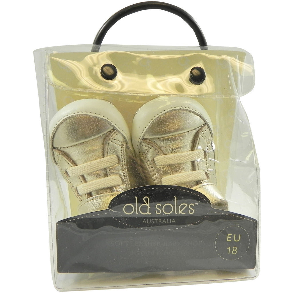 Old Soles Girl's and Boy's Cheer Bambini Gold Leather First-Walker Sneaker - Just Shoes for Kids  - 7