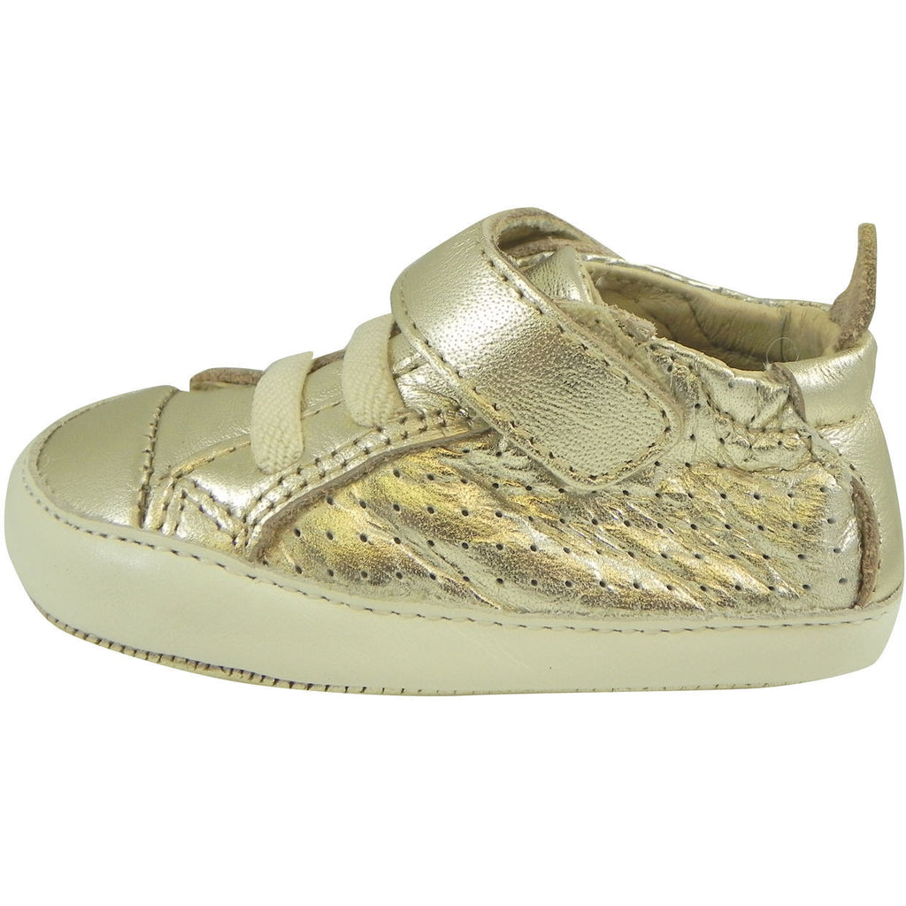 Old Soles Girl's and Boy's Cheer Bambini Gold Leather First-Walker Sneaker - Just Shoes for Kids  - 5