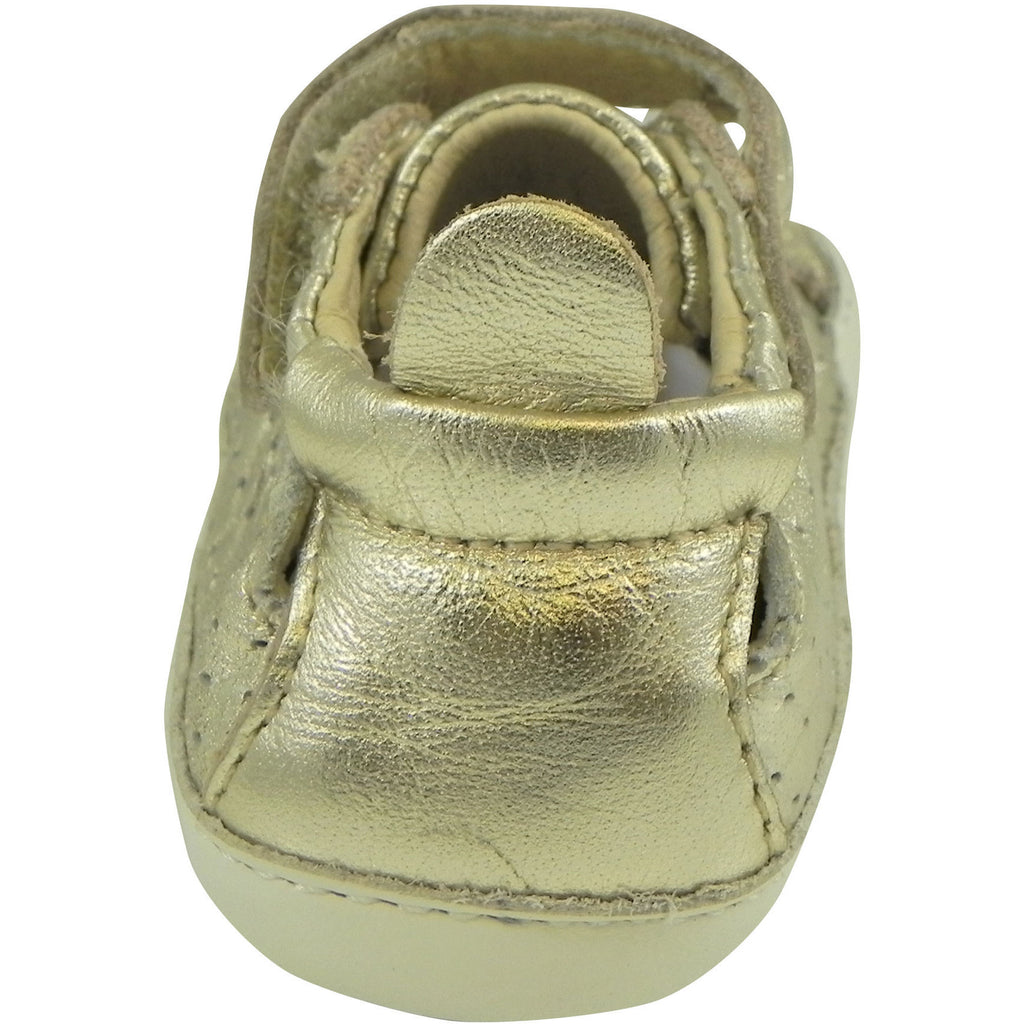 Old Soles Girl's and Boy's Cheer Bambini Gold Leather First-Walker Sneaker - Just Shoes for Kids  - 6