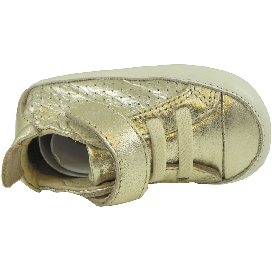 Old Soles Girl's and Boy's Cheer Bambini Gold Leather First-Walker Sneaker - Just Shoes for Kids  - 3
