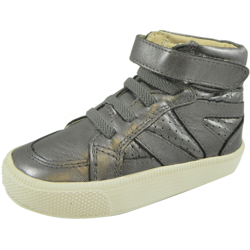 Old Soles Girl's and Boy's Rich Silver Leather Star Jumper Sneaker - Just Shoes for Kids  - 1