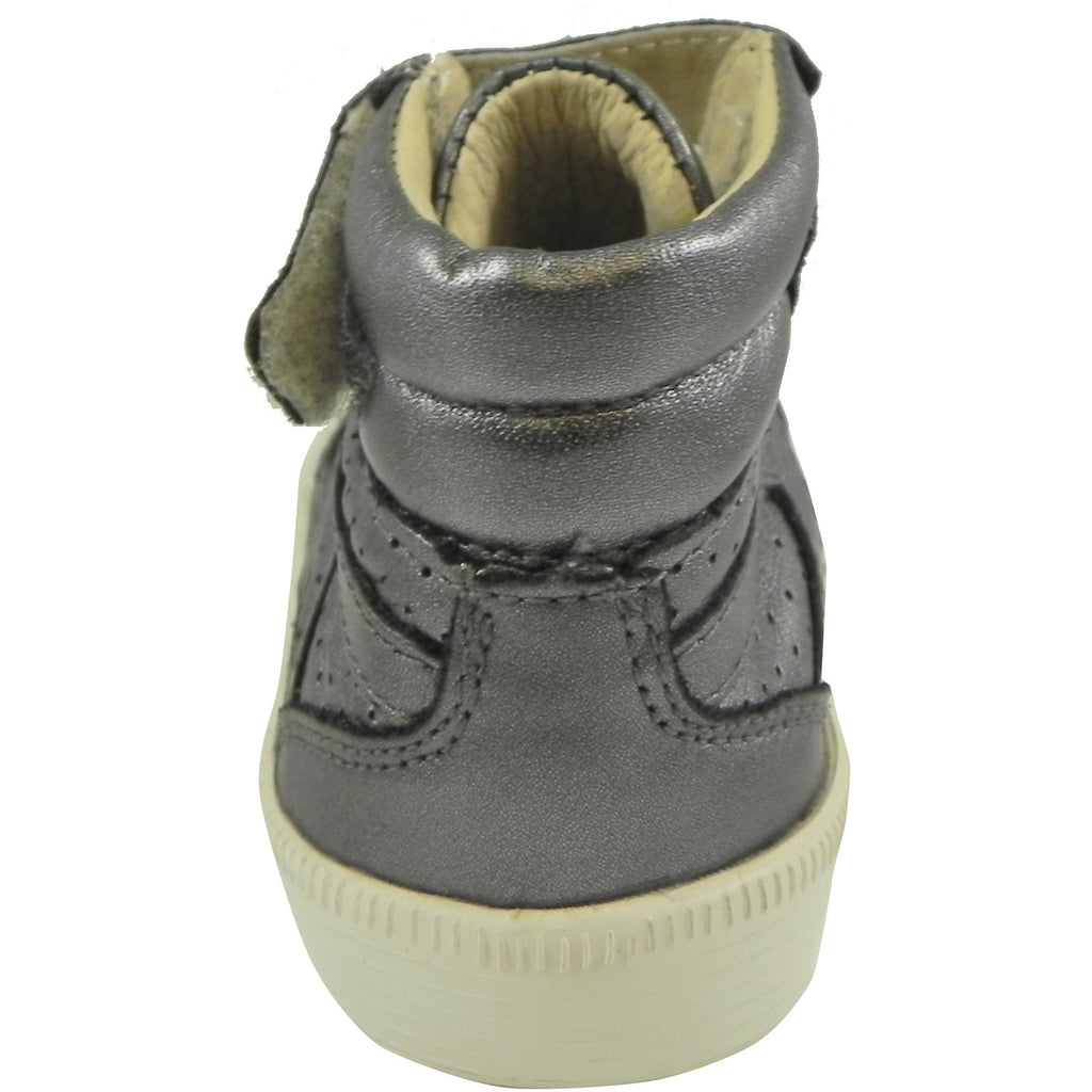 Old Soles Girl's and Boy's Rich Silver Leather Star Jumper Sneaker - Just Shoes for Kids  - 3