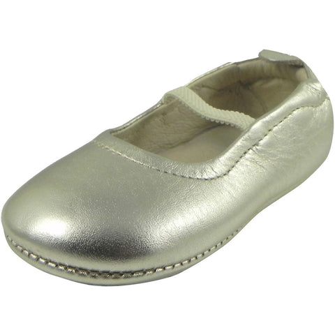 Old Soles Girl's 013 Gold Leather Luxury Ballet Flat - Just Shoes for Kids  - 1