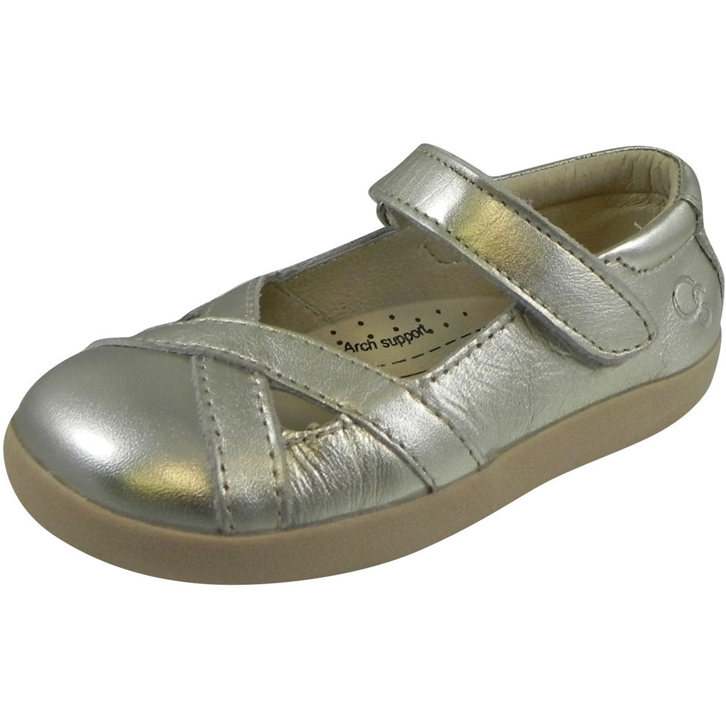 Old Soles Girl's Chianti Metallic Gold Leather Criss Cross Mary Jane Flat - Just Shoes for Kids  - 1