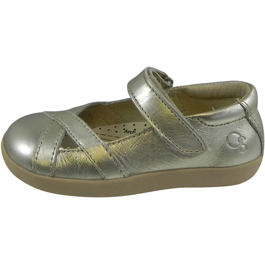 Old Soles Girl's Chianti Metallic Gold Leather Criss Cross Mary Jane Flat - Just Shoes for Kids  - 2