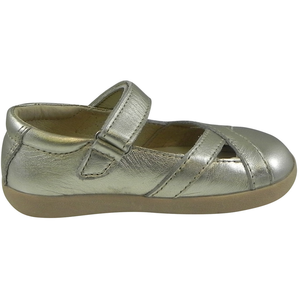 Old Soles Girl's Chianti Metallic Gold Leather Criss Cross Mary Jane Flat - Just Shoes for Kids  - 4