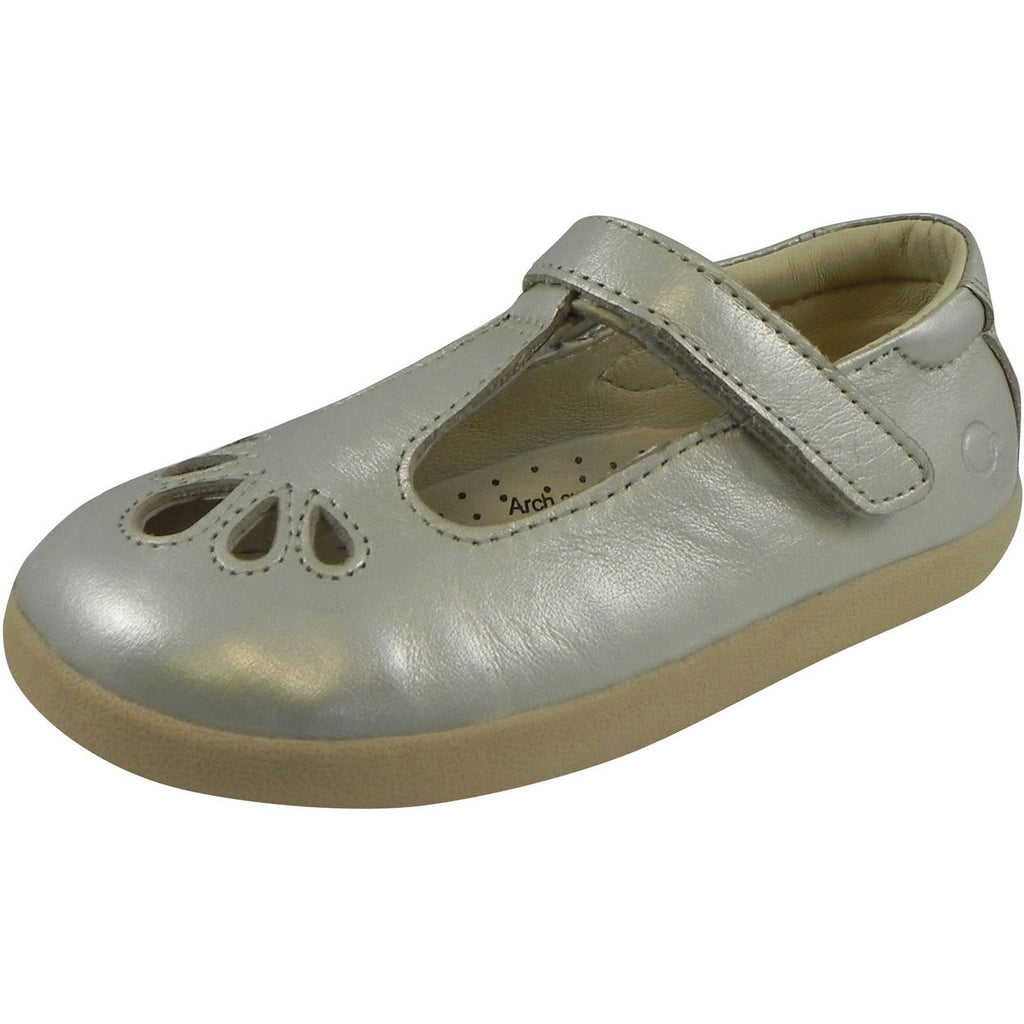 Old Soles Girl's Petals T-Strap Silver Chalk Leather Mary Jane Flat - Just Shoes for Kids  - 1