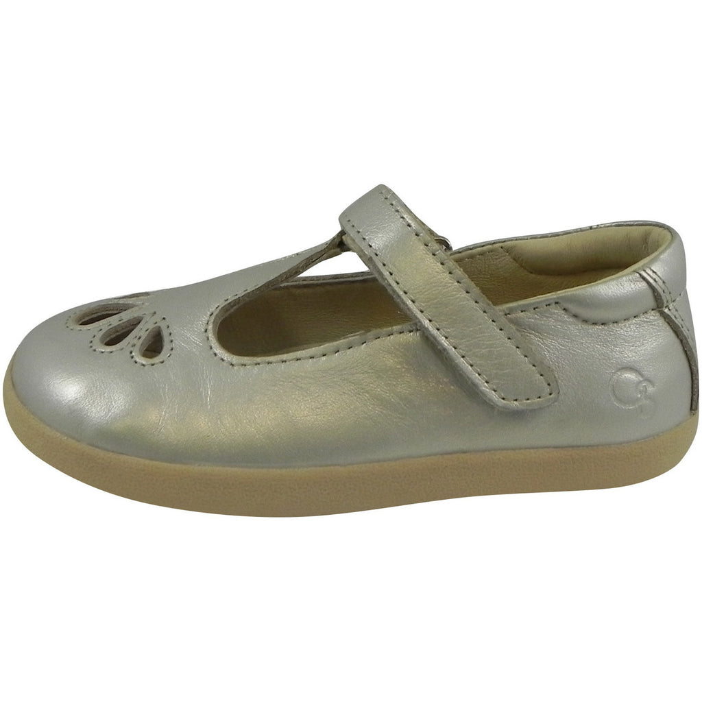 Old Soles Girl's Petals T-Strap Silver Chalk Leather Mary Jane Flat - Just Shoes for Kids  - 2