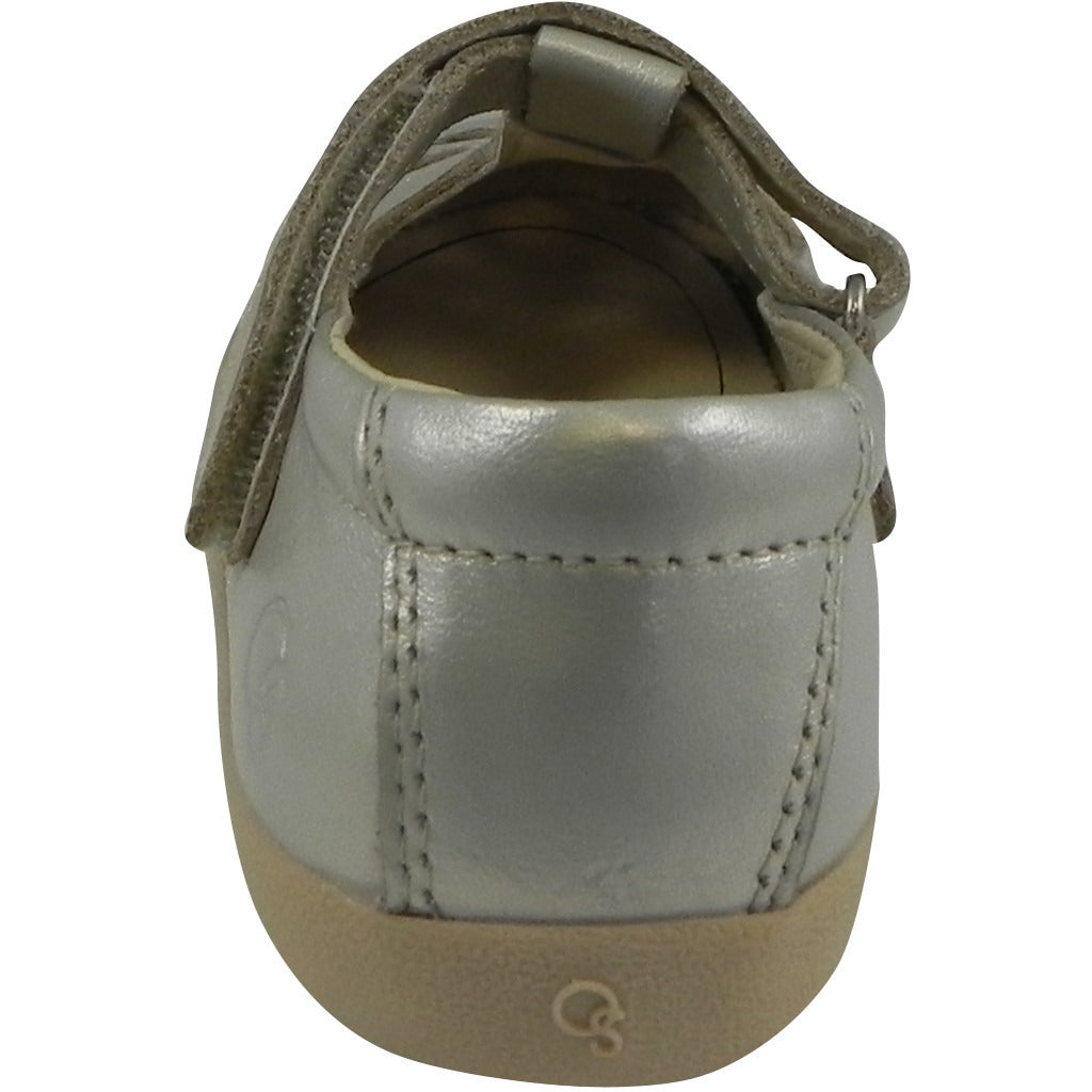 Old Soles Girl's Petals T-Strap Silver Chalk Leather Mary Jane Flat - Just Shoes for Kids  - 3
